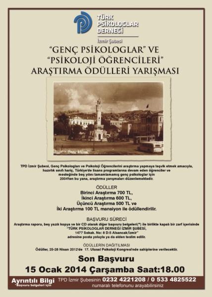 """""""GENÇ PSİKOLOGLAR"""" VE """"PSİKOLOJİ ÖĞRENCİLERİ"""" ARAŞTIRMA ÖDÜLLERİ YARIŞMASI"""