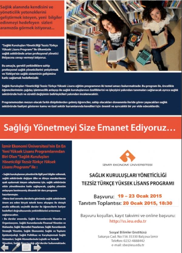 Sağlık Kuruluşları Yöneticiliği Tezsiz Türkçe Yüksek Lisans Programı
