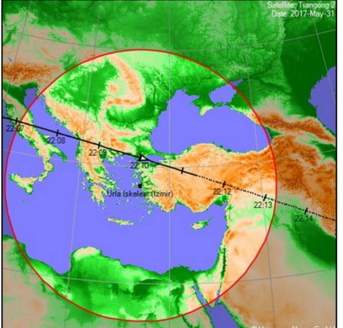 THE CHINESE SPACE STATION TIANGONG 2 FLIES OVER TURKEY