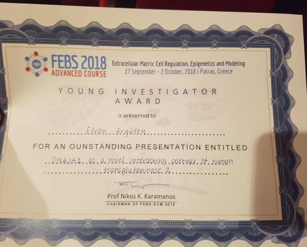 FEBS-ECM 2018 ADVANCED COURSE IN PATRAS, GREECE AND A POSTER AWARD FOR IEU
