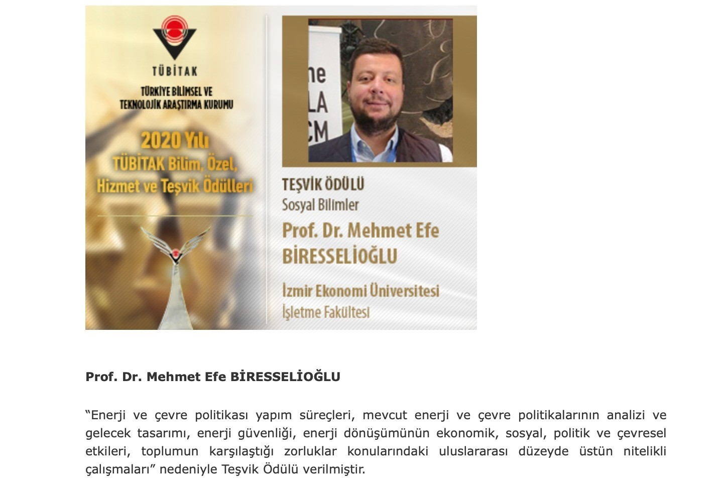 Efe Biresselioğlu TÜBİTAK Teşvik Ödülü'ne layık görüldü